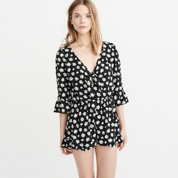 3fd4fb22fa4 A F Floral Knot Front Romper with Pockets. NWT. Abercrombie   Fitch.  M 5b809ddc8ad2f9b4ea00382f. M 5b57ac07b6a942e95e2a2d22.  M 5b57ac0a1e2d2dbe44274864